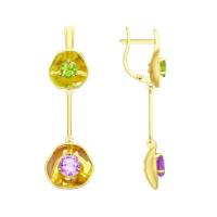 Золотые серьги подвесные с аметистами и хризолитами