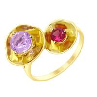 Золотое кольцо с аметистом и родолитом