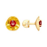 Золотые серьги гвоздики с родолитами ДИ8720026
