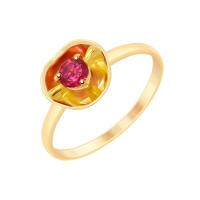 Золотое кольцо с родолитом ДИ8710026