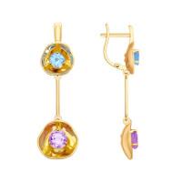 Золотые серьги подвесные с аметистами и топазами ДИ8720029