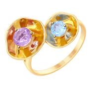 Золотое кольцо с аметистом и топазом ДИ8710029
