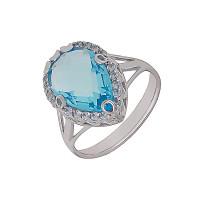 Серебряное кольцо с кварцем плавленым и фианитами ДХКР-020-1