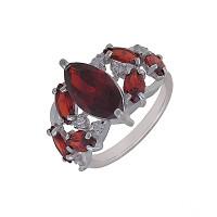 Серебряное кольцо с кварцем плавленым и фианитами ДХКР-065-12
