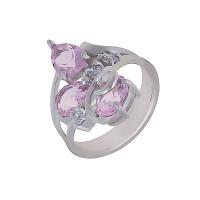 Серебряное кольцо с фианитами и кварцем плавленым ДХКР-063-14