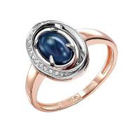 Золотое кольцо с сапфирами звездчатыми и бриллиантами 9К11-01078