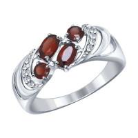 Серебряное кольцо с гранатами и фианитами ДИ92011219