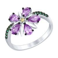Серебряное кольцо с аметистами и фианитами ДИ92011414