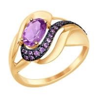 Золотое кольцо с аметистами и фианитами ДИ714782