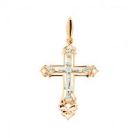 Золотой крест с фианитами ДИ120107