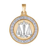 Золотой знак зодиака «весы» с фианитами ДИ032497