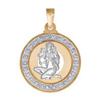 Золотой знак зодиака «дева» с фианитами ДИ032496