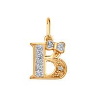 Золотая подвеска Буква В с фианитами ДИ030652