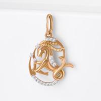 Золотой знак зодиака «козерог» с фианитами