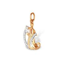 Золотой знак зодиака «дева» с фианитами ЮПП1320945