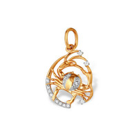 Золотой знак зодиака «рак» с фианитами ЮПП1320943