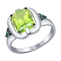 Серебряное кольцо с наноситалами и фианитами ДИ92011233