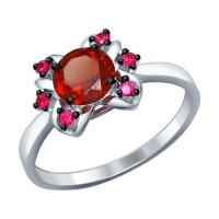 Серебряное кольцо с гранатами и гранатами фианитами ДИ92011242