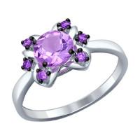 Серебряное кольцо с аметистами и аметистами фианитами ДИ92011243