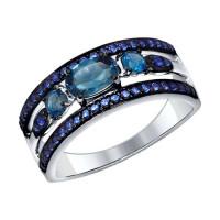 Серебряное кольцо с топазами и фианитами ДИ92011258