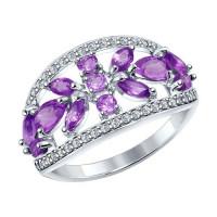 Серебряное кольцо с аметистами и фианитами ДИ92011274