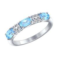 Серебряное кольцо с топазами и фианитами ДИ92011280