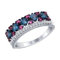 Серебряное кольцо с топазами и фианитами ДИ92011283