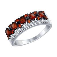 Серебряное кольцо с гранатами, гранатами фианитами и фианитами ДИ92011284