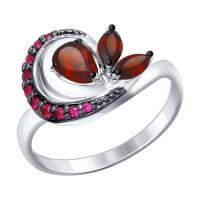 Серебряное кольцо с гранатами и фианитами ДИ92011291