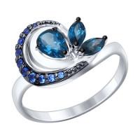 Серебряное кольцо с топазами и фианитами ДИ92011290