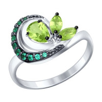 Серебряное кольцо с хризолитами и фианитами ДИ92011292