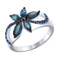 Серебряное кольцо с топазами и фианитами ДИ92011303
