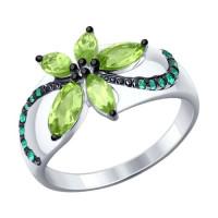 Серебряное кольцо с фианитами и хризолитами ДИ92011305