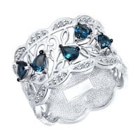 Серебряное кольцо с топазами и фианитами ДИ92011315