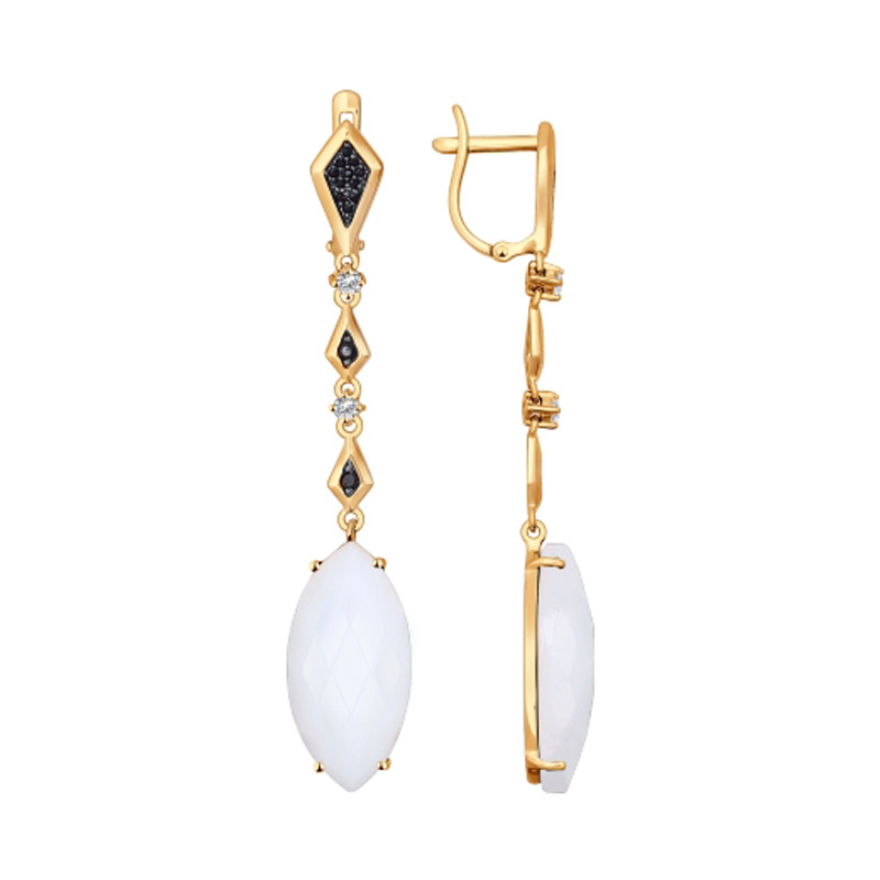 Золотые серьги подвесные с агатами и фианитами ДИ724356