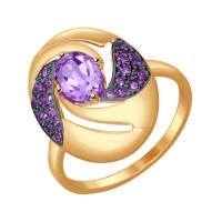 Золотое кольцо с аметистами и фианитами ДИ714532