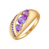 Золотое кольцо с аметистами и фианитами ДИ714540