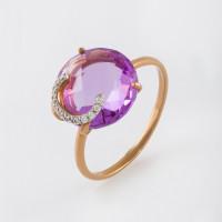 Золотое кольцо с аметистами и фианитами НЮ102020191450ам