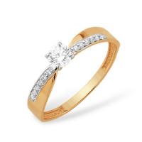 Золотое кольцо с фианитами ЮПК1327615
