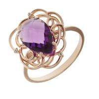 Золотое кольцо с кварцем и фианитами КСК14-10158