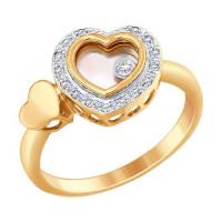 Золотое кольцо с бриллиантами, ювелирным стеклом и перламутром