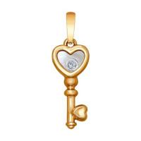 Золотая подвеска с бриллиантом, перламутром и ювелирным стеклом