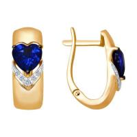 Золотые серьги с бриллиантами и корундами ДИ6022114