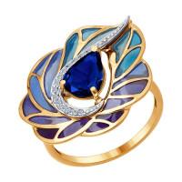 Золотое кольцо с бриллиантами, эмалью и сапфиром ДИ6019008