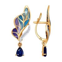 Золотые серьги подвесные с бриллиантами, сапфирами и эмалью ДИ6029013