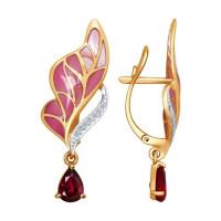 Золотые серьги подвесные с бриллиантами, эмалью и рубинами ДИ6029012