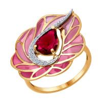 Золотое кольцо с бриллиантами, эмалью и рубиным ДИ6019010