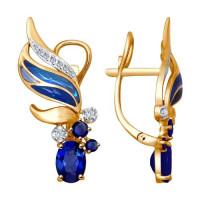 Золотые серьги подвесные с бриллиантами, эмалью и сапфирами ДИ6029024