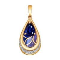 Золотая подвеска с бриллиантами, эмалью и сапфиром ДИ6039023