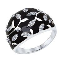 Серебряное кольцо с фианитами и эмалью ДИ94012592
